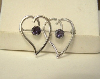 Altered Van Dell Brooch Pin Sterling Silver Genuine Blue Iolite Gemstone Double Heart Authentic Vintage Hallmarked