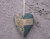 MERRY CHRISTMAS  Heart ---- Lace Fabric Heart ----- Embellished Stuffed Heart----