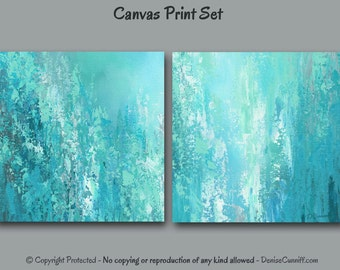 Diptych Wall Art Abstract Painting Canvas Print Set Two Panel Teal Turquoise Gray Aqua