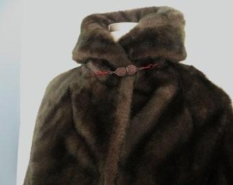 Vintage womens faux fur long coat, brown black warm winter coat, 70s by Malden Limited