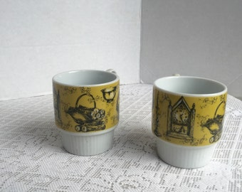 Stacking Cups Made in Japan Vintage China Teacups Yellow and Black Coffee Cups
