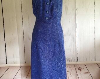 Vintage 60's shift dress - Home Made - Blue Sparkle Dress - Plus Size