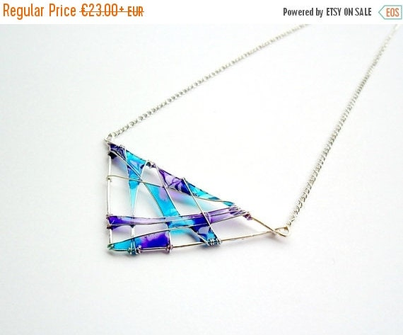 AUGUST SALE 20% Geometric triangle necklace, purple turquoise resin pendant, stained glass inspired jewelry, wire wrapped pendant