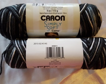 Caron Simply Soft CAMO Yarn OVERSTOCK - 204 Yards Red Black Grey