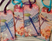 4 LARGE TAGS - Collage and Ink - Dragonflies Flowers Pink Blue Peach Purple