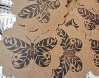 BUTTERFLY TAGS Set/12 Kraft Cardstock Handstamped Hang Tag Price Tag Gift Tag