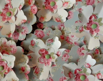 PAPER FLOWERS Set/3 Rose Floral Cottage Chic Soft Blue Pinks White Pale Green