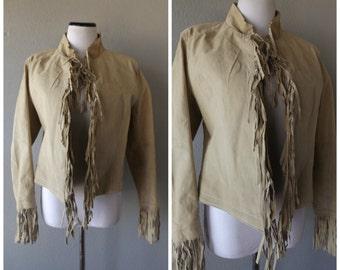 Fringe Leather Jacket Vintage 90s Womens Western Tan Short Coat Size L Large Southwestern Hippie Boho Festival Clothing 1990s Fringed Coats