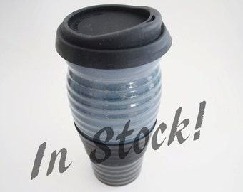 IN STOCK, Stoneware Black Grey Blue Travel Mug with Silicone Lid and Sleeve, Large To Go Coffee Mug, 24 oz Eco Mug