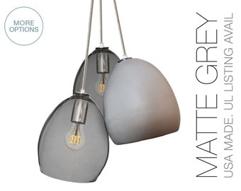 Matte Grey Clay & Smoke Glass Custom 3 Pendant Chandelier- MADE IN USA