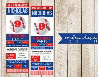 Baseball Ticket Birthday Invitation - Printable file.