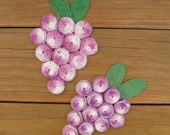 Vintage Crocheted Bottle Cap Trivet - Set of 2 Purple Grape Clusters