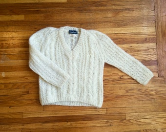 Mohair Wool Cable Knit V neck Sweater Handknit Made in Italy Size 34 Womens Small