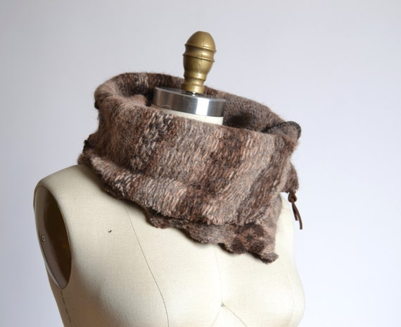 Up-cycled  Alpaca Neck Warmer  - Wool Alpaca Neck Warmer - Wool Cowl Neck Warmer - Unisex gift ideas