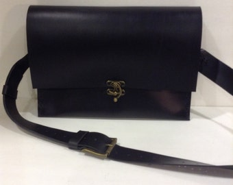 MacBook Air Black Leather Bag/CrossBody Bag /Laptop Briefcase Bag,Flappy MacBook Air Bag