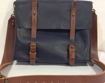 Shoulder Handbag Bag with Laptop Sleeve, Dark Blue Leather bag Great Gift for Your Men ,Made in NYC BY Nadirabag