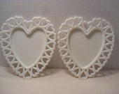 Set or Pair of Westmoreland Glass Open or Lace Edge Heart Shape White or Milk Glass Plates or Trinket Dish