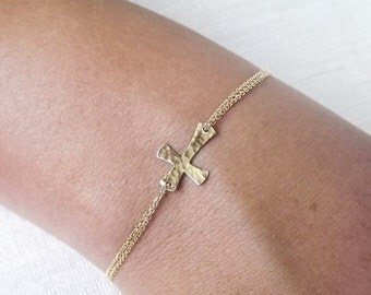 ON SALE Dainty Hammered Gold Filled or Sterling Cross Bracelet - Religious Bracelet - Sideways Cross