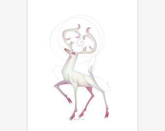 White Stag Mythical Creature Print A5