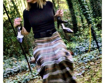 Mod Preppy Plaid chevron stripe high waisted rocker retro long maxi skirt