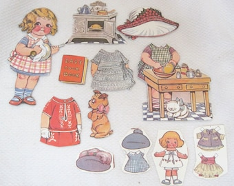"Older Dolly Dingle Paper Doll 13 PC Kitchen Cooking Stove Hats Dog & More 5 1/2 "" T27"