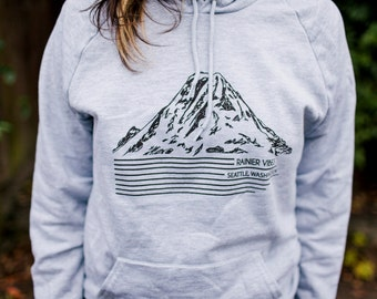 Seattle Sweatshirt, Mt Rainier printed on American Apparel Hoodie