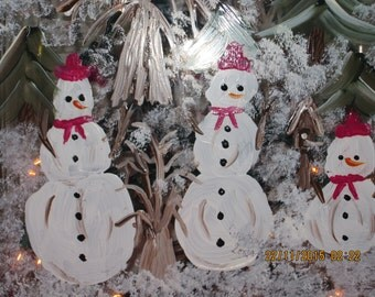 Three Snowman in the Woods Glass Block hand painted
