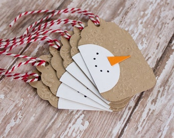 Snowman Christmas Tags, Gift Tags, Holiday Tags