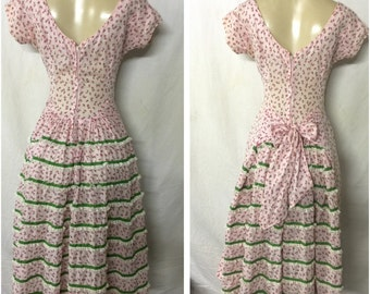 Lou-Ette of California pink convertible sundress rosebud print and bustle with sash. Adorable! Super find! sm/m