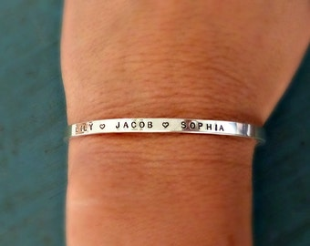 Personalized Bracelet,  Valentines Day Gift, Custom Jewelry, Gift from Husband, Silver Cuff, Personalized Gift, Gift for Her, Women's Cuff