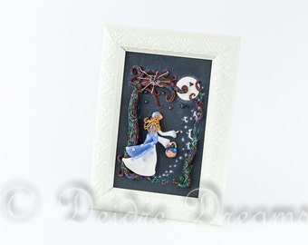 Fairy Tale Shadow Box, Folk Art, Primitive Art, Will o the Wisps Wall Art, Fantasy Diorama, Polymer Clay Wall Hanging, Goth Storybook Art