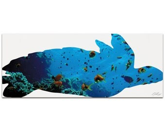 Sea Turtle Seascape   Contemporary Metal Animal Silhouette Art, Sea Life Artwork on White, Minimalist Turtle Art, Modern Wall Decor