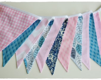Gril Garland, Bunting Banner, Boy Nursery Decor, Photo Prop, Baby Shower, Fabric Flags - Grey Blue,  Pink