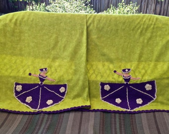 Pillowcase Pair, Crocheted Ladies in Purple on Green, Pre-Washed Cotton Pillowcases