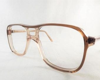 Mens Mod Eyeglasses, Aviator Glasses, Fox Brown 2 Tone Glasses, Vintage 1970's Glasses, Retro Eyeglasses, NOS New Old Stock Frames