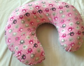 Boppy pillow cover in pink and gray elephants and light gray minky