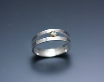 Sterling Silver Double Orbit Ring with Conflict-Free Diamond set in 14k Gold