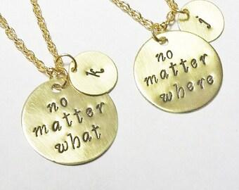 best friend necklace, gold necklace, no matter where necklace, no matter what charm, initial necklace, friendship necklace, long distance 2