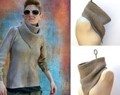 RESERVED The Oversize Bandana Cowl Hand Knit 100% Pure Ecological Undyed Wool Infinity Scarf Men Women Warm Winter Accessory Apocalypse