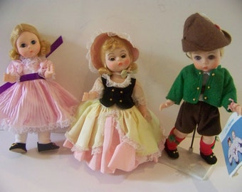 Lot of 3 8 in Madame Alexander dolls Little  Miss, Bo Peep and Austria