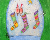 Robin's and Stockings Snow Globe