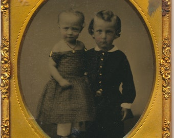 Siblings Beautiful Portrait Ruby Ambrotype 19th century Photograph antique 1800s family portrait fashion