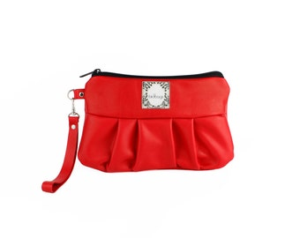 "Red Leather Clutch, Wristlet, Convertible Wallet, Birdbags ""Kelly Wren"" Pleated Handbag"