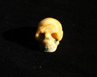 """SALE* 1.2"""" Crazy Lace Agate Carved Skull 20g"""