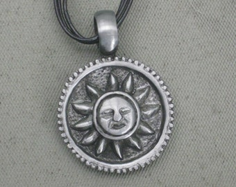 Necklace-Charm Necklace-Sun Necklace-Sun Charm Necklace-Smiling Sun Necklace-Dangle Necklace-Leather Necklace-Silver Charm Necklace-