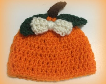 "READY TO SHIP Pumpkin hat, crocheted hat, preemie, 0-3 months newborn 3-6 months, photo prop, Halloween hat, orange, newborn 18"" doll"