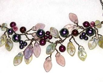 Amethyst Floral Necklace Set Earrings, Purple Bridal Necklace, Purple Vine Necklace, Leaf Necklace, Boho Necklace