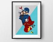 Cap vs Stark - Poster, Mini Print
