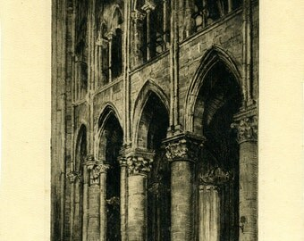 Vintage etching of front of cathedral signed and dated 1925