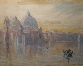 Vintage venice water color signed